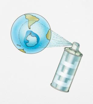 aerosol can spraying carbons at Earth