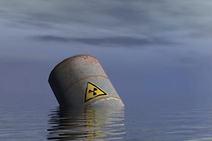 Radioactive barrel in the ocean