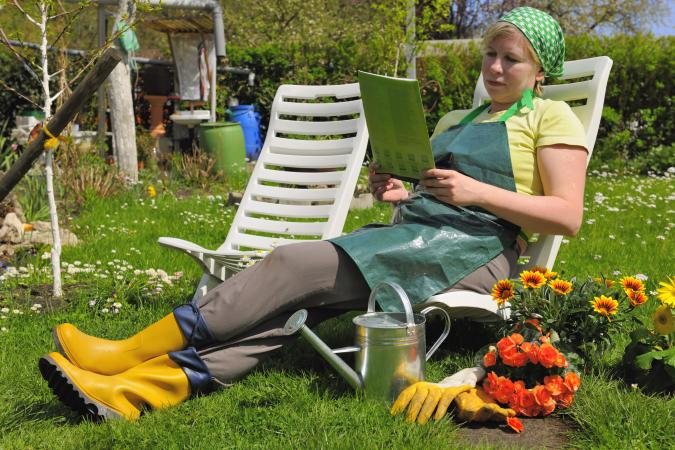 gardener reading outdoors