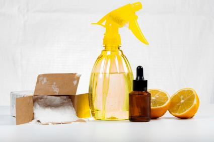 Natural cleaners made of lemon and baking soda