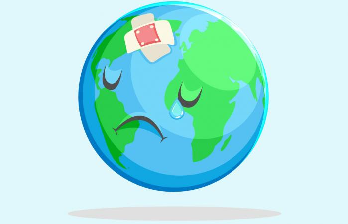 Sad Nature Earth Globe Character