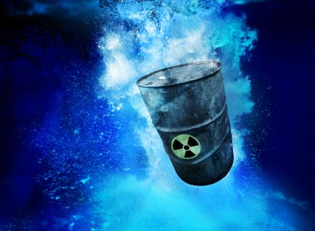 Depiction of radioactive material in a barrel dumped into the oceana