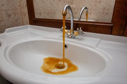 Polluted drinking water coming from faucet