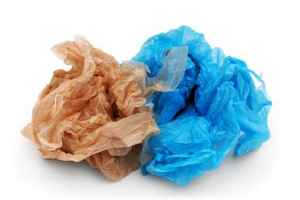 Plastic grocery bags are a common source of litter.
