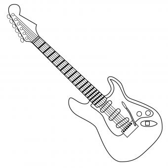 black and white electric guitar clipart