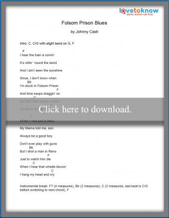 Folsom Prison Blues by Johnny Cash words and chords