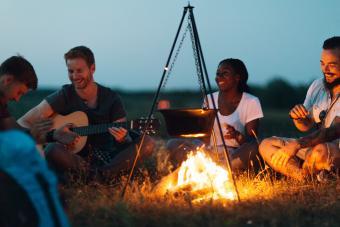 A campfire guitar sing along