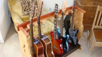 Handcrafted wood guitar stand