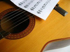 Guitar and sheet music