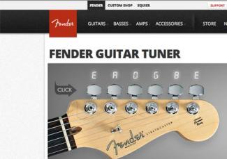 Screenshot of Fender.com guitar tuner website