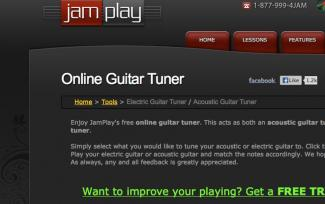 Screenshot of jamplay online guitar tuner