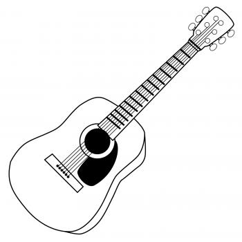 black and white guitar clipart