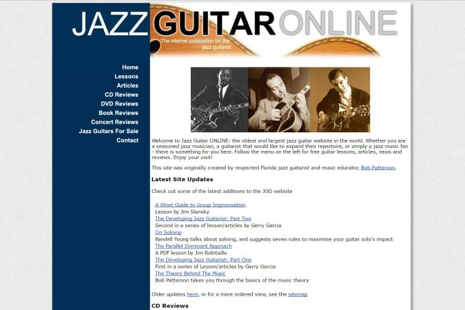 Screenshot of JazzGuitar.com website