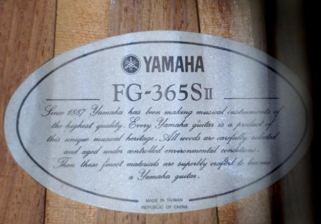 Yamaha FG-365S II label