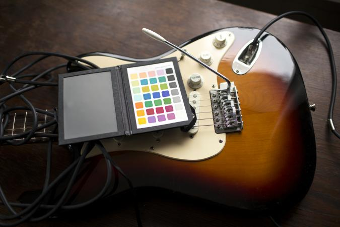 Electric guitar on table