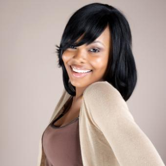 African American woman with side swept bangs