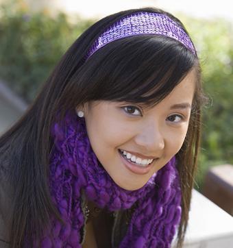 Woman with purple headband