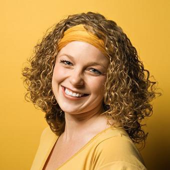 Curly hair with headband