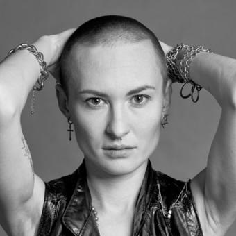 Shaved Head Woman