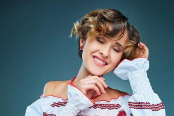 Woman with wavy pixie cut hairstyle