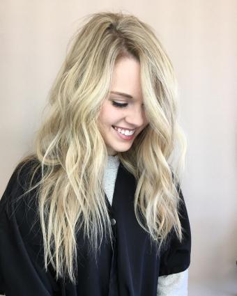 blonde beach waves balayage