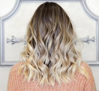 Back view of ombre hairstyle