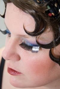Woman with pin curled flapper hairstyle