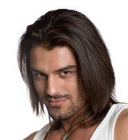 Man with longer layered hairstyle