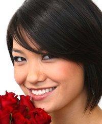 Woman with short face-framing haircut