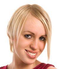 Woman with stylish short hair cut