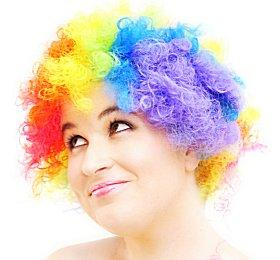 Woman wearing a clown wig