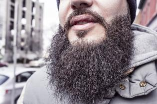 A large beard on a man