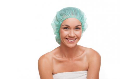 woman in shower cap