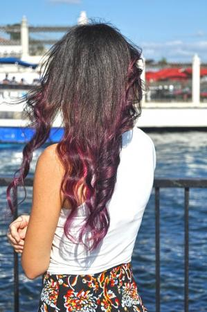 Woman With long Purple Hair