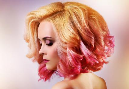Girl with hot pink dip-dye hair