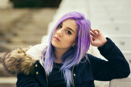 Violet to blue hair color