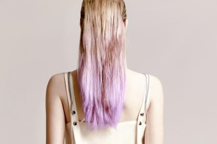 Blonde and purple ombre dyed hairstyle