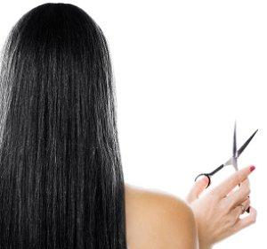 Woman ready to cut her long hair short