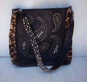 McFadin Black Cheetah Accent Studded Shoulder Bag