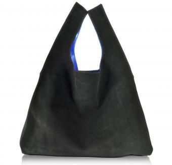 MM6 Maison Martin Margiela Black Suede/Electric Blue Laminated Leather Tote Bag