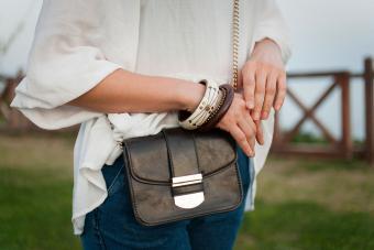 Woman wearing crossbody bag