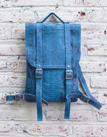 Blue python leather backpack purse