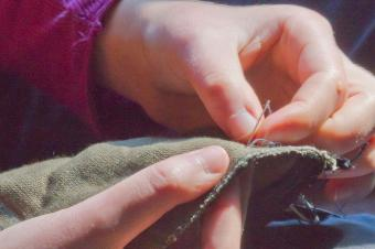 Repair lining by hand sewing