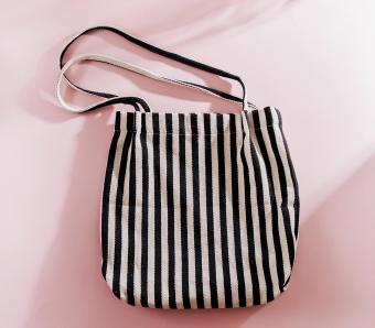 Striped cloth shopping bags