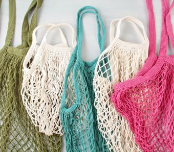 Assortment of reusable net bags or shoppers
