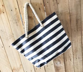 Black and white stripe tote bag