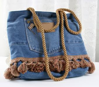 Landies handbag made from an old pair of denim jeans