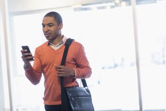 Man with shoulder messenger bag