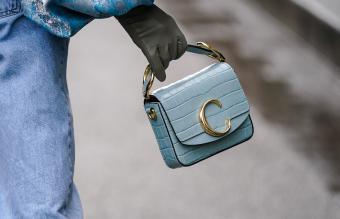 Chloe blue crocodile pattern bag