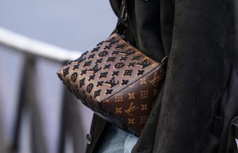 brown Vuitton monogram bag